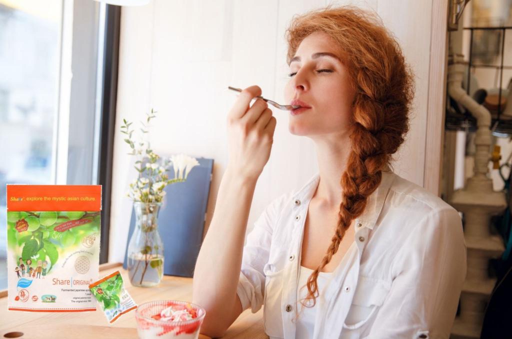 Chica comiendo yogur con Share Original